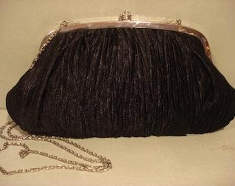 Vintage 1990s Black Clutch Satin Handbag