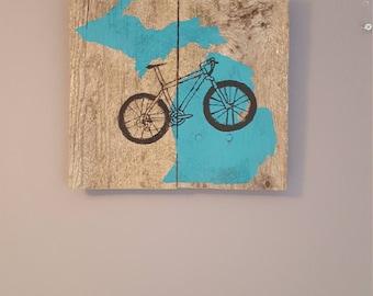 Michigan mountain bike rustic sign, rustic mountain bike wall hanging