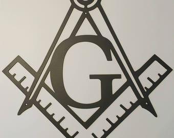 Masonic Square & Compass Metal Wall Art