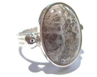 agate ring Laguna Lace Agate silver 925%