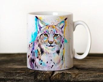 Lynx Mug Watercolor Ceramic Mug Unique Gift Coffee Mug Animal Mug Tea Cup Art Illustration Cool Kitchen Art Printed mug