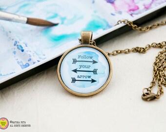 Follow your arrow Necklace-Quote pendant-Arrows pendant-Tribal necklace-Boho jewelry-boho necklace-arrows jewelry-NATURA PICTA-NPNK002