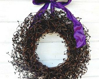 Halloween Wreath-Halloween Decor-BLACK & PURPLE Wreath-Fall Wreath-Black Holiday Wreath-Scented Wreaths-Custom Made USA