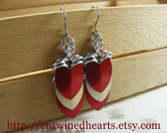 Red and Gold Sheild Earrings