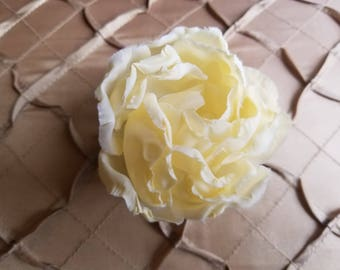 Cream silk flower pin