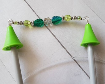 Flower Point Protectors -for Knitting Needles -Knitter Accessory -Knit Notion -Beaded Point Protectors for Knitters -Green -Silver