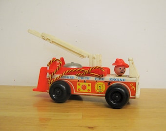 Vintage Fisher Price Wood Firetruck