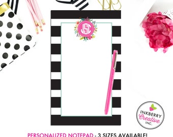 Personalized Notepad - Black White Stripe Floral - 3 Sizes Available - Small, Medium or Large - Customized with name, monogram or colors
