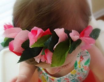 Baby Flower Crown, Pink Flower Crown, Toddler Flower Crown, Floral Crown, Pink Flower Headband, Flower Crown, Pink Floral Crown