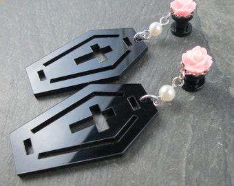 Pentagram Plugs - 10g - 8g - 6g - 4g - 2g - 0g - Black Pentagram Heart - Plug Earrings - Gothic Wedding - Dangle Plugs - Pastel Goth