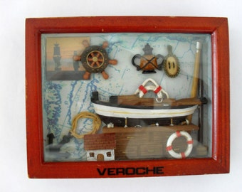 Boat and Nautical Collectible Wooden Shadow Box Wall Art