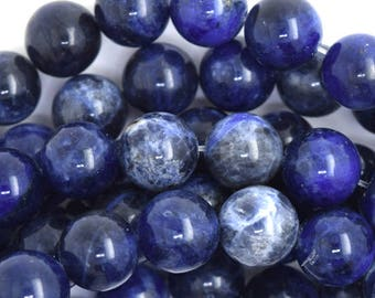 "12mm blue sodalite round beads 15.5"" strand 36659"