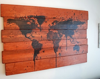"Extra Large World Map Paint Splatter Wall Art on Stained Distressed Wood Boards - 50"" x 32"""