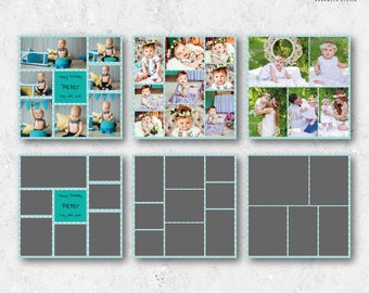 12x12 Birthday Collage Templates, Cake Smash Photo Collages, Blog Board Template, Photo Storyboard, Digital Storyboard, Photography Template