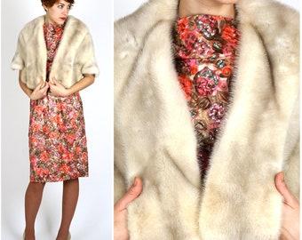 Vintage 60's Gorgeous White Mink Fur Shoulder Wrap Caplet Stole by Dave Fletcher Furrier Cape Town | One Size, XS Small Medium Large XL