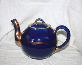 Vintage Unusual HALL Cobalt Blue and Gold 2 cup Teapot Marked HALL and Sample