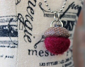 Burgundy Red Needle Felted Acorn Pendant Necklace with Ball Chain