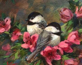 "Chickadee & Blossoms, 8""x8"", oil on canvas, winter, chickadee, spring, birds, original, Krista Eaton"