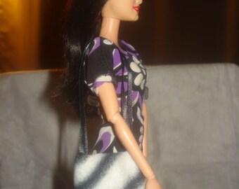 Black & white Zebra print Fleece purse for Fashion Dolls - bap21