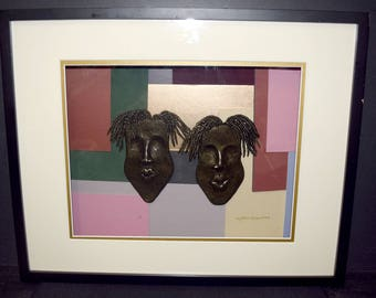 Lynda E Bibbs Original TWO 3D Face/Masks Black/Gold African American Art Signed