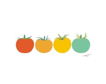 Vegetable Poster, Tomato print, Vegetable Wall Art, Modern Kitchen Art, Original Art Print, Retro Kitchen Art, Kitchen Wall Decor, Food Art