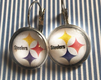 Pittsburgh Steelers glass cabochon earrings - 16mm