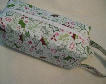 Holly Christmas Pencil Bag Craft Bag Cosmetic Bag Makeup Bag Shaving Kit LARGE