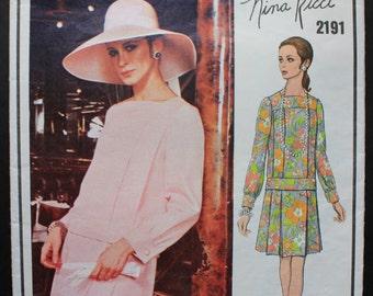 Nina Ricci Two-Piece Dress Pattern from Vogue Paris Original - Size 14