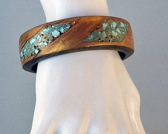 Wooden  Bangle/Bracelet with Turquoise Stone Inlay and Golden Patina