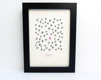 Linogravure imprimer coeurs, art minimaliste photographie, imprimés à la main décoration, cadeau pour amoureux
