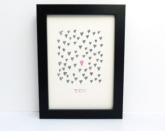 Original linoprint with hearts, hand printed linocut, wall art for anniversary