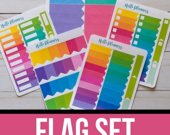 Flag Sticker Set | Functional Planner Stickers | Header Flag Stickers | Large Flags | Small Flags | Checkbox Flag Stickers | Page Flags