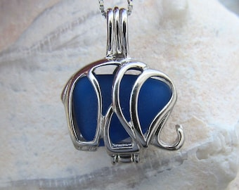 Sterling Silver  Sea Glass Save the Elephants Necklace Cobalt Royal Blue Summer Style Beach Boho Mbegu by Wave of Life™
