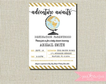 Baby Shower Invitation, Adventure Awaits Baby Shower Invitation, World Baby Shower Invitation, Map BabyShower Invitation, Globe Invitation