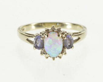 10K Oval Syn. Opal Diamond Tanzanite Accented Ring Size 6.25 White Gold