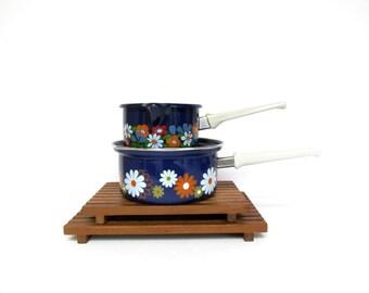 Vintage Enamelware Sauce Pan, Blue with Perky Flowers