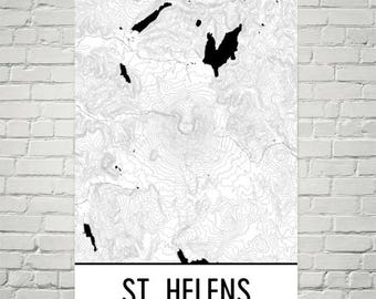 Mt. St. Helens Print, Mount St. Helens Washington Poster, St. Helens Topographic Map, Volcano Contour, Hiking Gift, Cascade Mountains