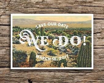 Desert Cactus Vintage Postcard Save the Date // Western Wedding Arizona New Mexico Cactus Succulent Post Card Wedding Invitation Unique