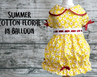 Dog dress,Dog dress balloon,Dog clothes,Cat dress floral in yellow and red,dog outfit