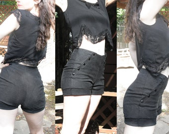 OH Snap! Sailor Shorts, High Waisted - Heavy Duty Cotton Canvas and Metal Snaps - Custom Made to Order Post-Consumer Material