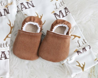 Corduroy Baby Shoes, Baby Boy Shoes, Baby Girl Shoes, Brown Baby Shoe, Tan Baby Shoes, Baby Moccasins, Baby Shoes, Baby Booties, Tan Booties