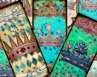 Royal Crown Jewels Bookmarks Digital Collage Sheet 2x5.2 greeting cards hang tags paper supplies UPrint 300jpg