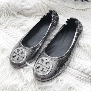 Vintage TB Silver Flat Shoes