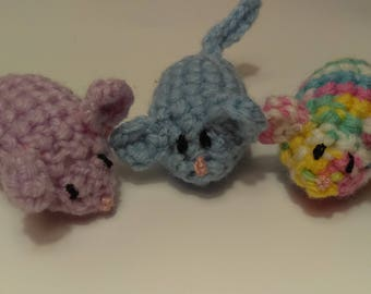 Three Crochet Mice, Cat Mice Toys, Cat Toys, Kitten Toy, Amigurumi Mice, Lilac Mouse Toy, Handmade Cat Toy, Crocheted Cat Toy,Arcylic Yarn