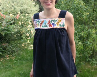Black Sleeveless Top /Spring Summer Blouse/Embroidered beaded Top with butterflies/ 100 % Cotton Top Size Medium/ Mexican Tunic Slow fashion