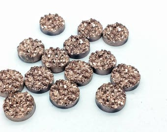 Rose Gold 12mm Crystal Faux Druzy Cabochons 10 pcs