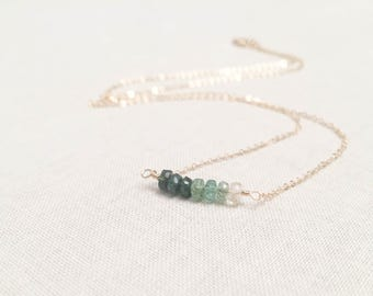 Ombre Emerald and Gold Necklace - Faceted Shaded Green Natural Genuine Emerald Gemstone Bar Necklace Wire Wrap 14k Yellow Gold Fill OOAK