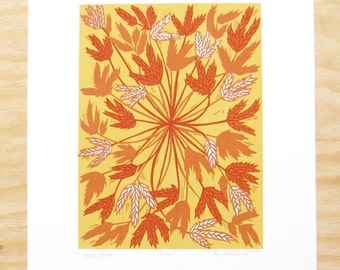 "Woodblock Print - ""Hello, There"" - Wheat Big Blue Stem - Friendly Plants - Yellow Orange"