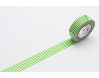 208846 green white stripe mt Washi Masking Tape deco tape