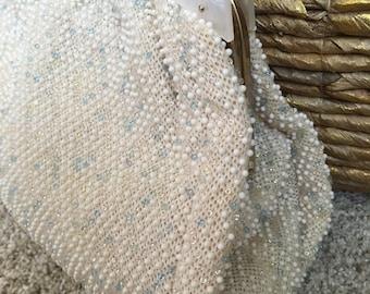 Lightly beaded corde bead vintage handbag white 50s 60s